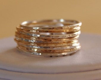 Etsy jewelry set of 9 14K gold filled & sterling silver  Stack/Stackable/Stacking rings sizes 4,5,6,7,8,9,10 mix and matched rustic rings