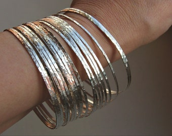 7 Thin Hammered Sterling Silver Stack Stacking Bangles /  Stack Bracelets
