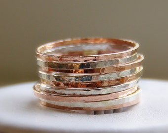 trendy rings - Stacking Rings - Sterling Silver & Rose Gold Slender Stackable Rings