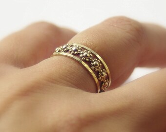 Daisy Chain Floral Romance Gold Filled Stackable Rings Set - Stacking Ring Set of 3 - Best Friends Rings or Bridesmaids Rings- Custom Size