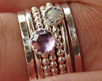 Opal & Amethyst Stackable Birthstones Mothers rings - Personalized Jewelry - Gemstone Ring, Stackable Ring - Mother's Day gifts