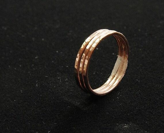 Set of 3 BOLD 14k rose gold filled hammered stackable rings wedding bands