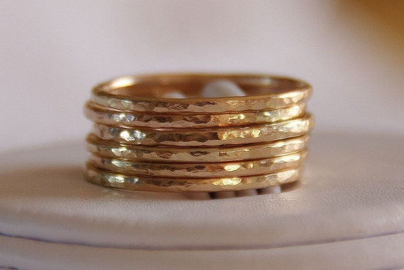 BOLD 14K Gold Filled Hammered Stacking / Stackable Rings - Set of SIX, sizes 4,5,6,7,8,9,10,11,12 free domestic shipping