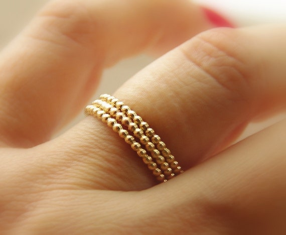 Yellow Gold Filled Dotted Stackable Rings (eternity bands) skinny, thin dainty, thumb finger ring, stack, stacker, stacking rings