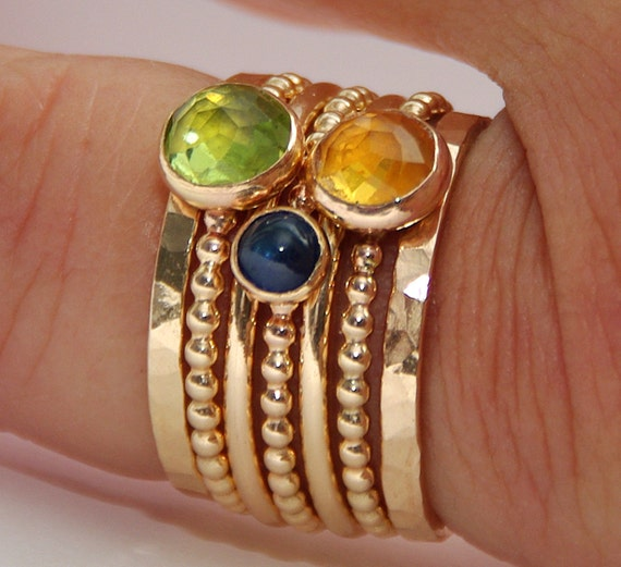 14k GOLD FILLED Peridot, Citrine, Sapphire Stackable Birthstones Mothers rings, Personalized Jewelry, Gemstone Ring, Stackable Rings