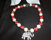 Alabama Style Crimson crystal and glass cream colored pearl necklace with a houndstooth elephant pendant.