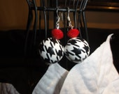 Alabama style Houndstooth and Crystal earrings