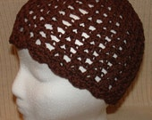 Brown Lace Knit or Crochet Beanie