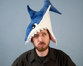 Plush Shark Hat/Pillow - Blue Tie-Dye