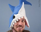 Fleece Shark Hat - Blue