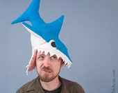 Fleece Shark Hat - Turquoise