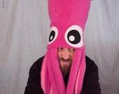 Giant Squid Fleece Hat - Hot Pink