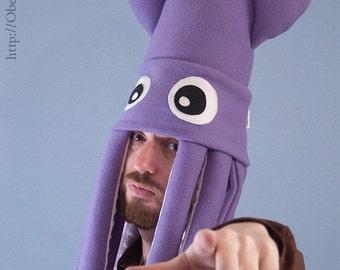 Large Fleece Squid Hat - Purple
