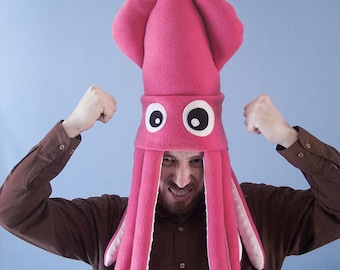 Large Plush Squid Hat - Hot Pink