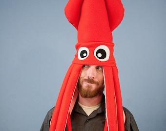 Plush Squid Hat - Red