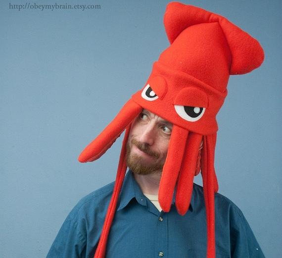 Medium Fleece Squid Hat - Red