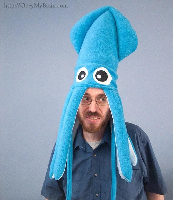 Large Fleece Squid Hat - Turquoise