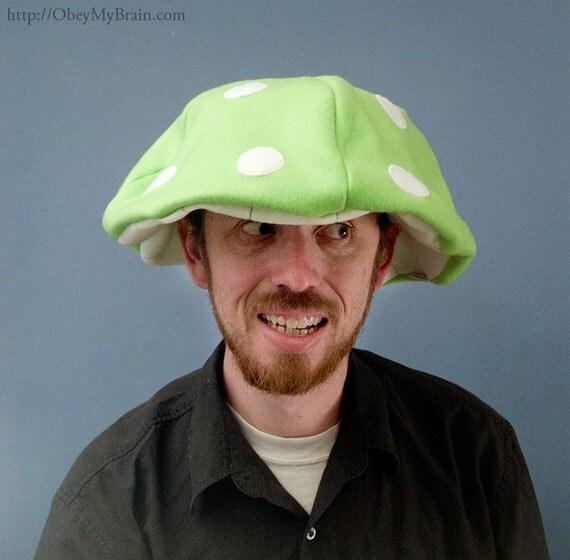 Mushroom Cap Floppy Hat Green Fleece