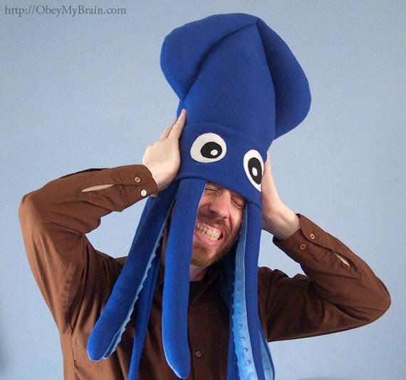 Plush Squid Hat - Large Blue Fleece