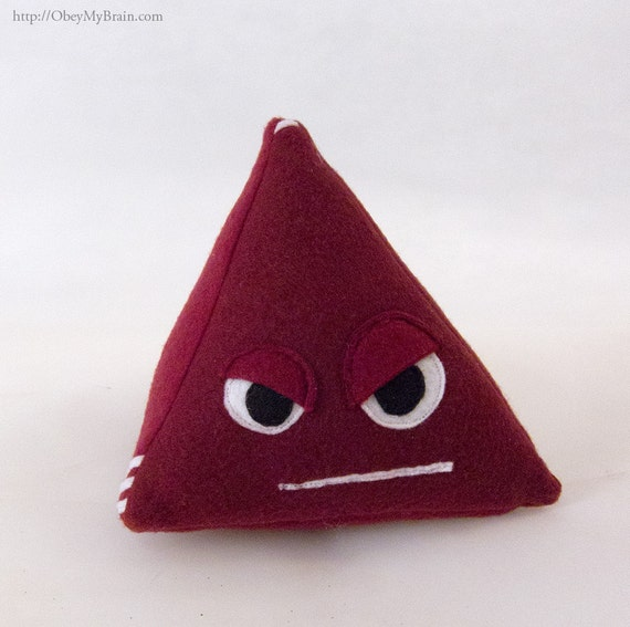Burgundy Plush d4 - 4 Sided Role Playing Dice