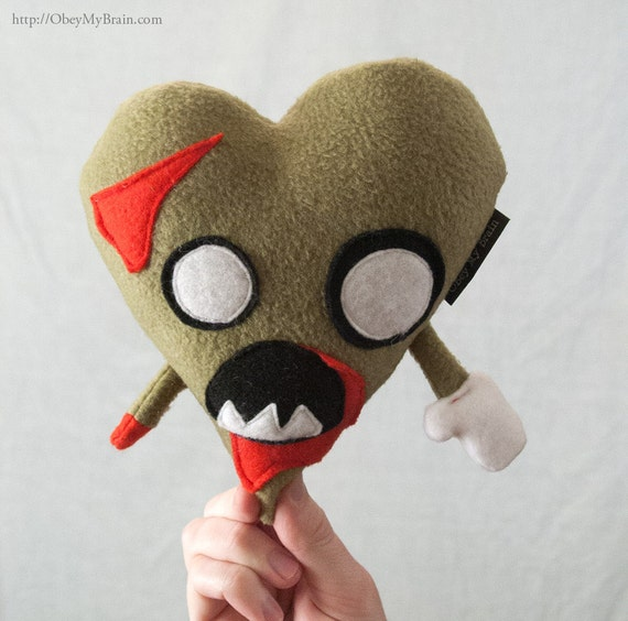 I Heart Zombies - Valentine's Day Plush Zombie Heart