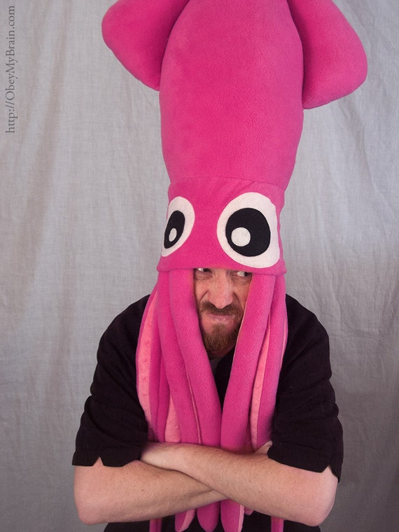 Giant Squid Fleece Hat - Hot Pink