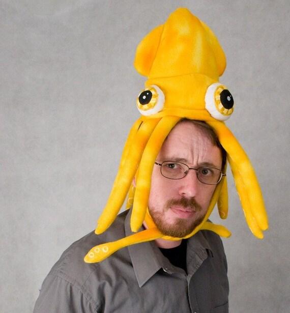 Small Plush Squid Hat\/Pillow - Yellow Tie-dye