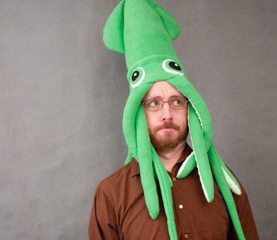 Squid Hat: Plush Squid Hat/Pillow Green