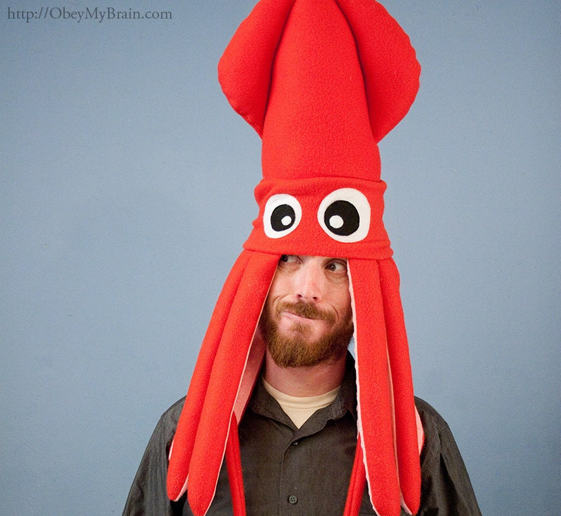 Squid Hat: Plush Squid Hat Red
