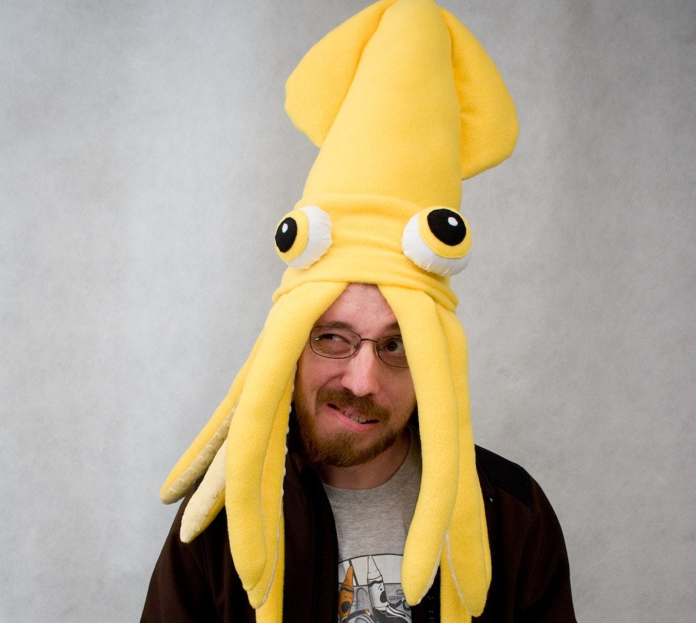 Plush Squid Hat Pillow Bright Yellow
