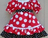 Custom Boutique Red Minnie Dot Print Peasant Dress Disney Mickey Vacation 18 24 mo 2 3 4 5 6
