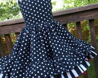 Made to Order Custom Boutique Black White Red Flower Girl Dress 2 3 4 5 6 7 8 Wedding
