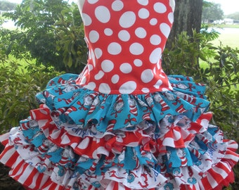 Made to Order Custom Boutique Dr Seuss Cat in Hat 2 Piece Nie Nie Set Girl 2 3 4 5 6