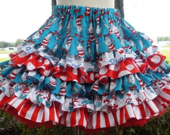 Made to Order Custom Boutique Dr Seuss Cat in Hat Ruffle  Nie Nie Skirt Girl Size  2 3 4 5 6 7 8