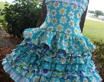 Ready to Ship Custom Boutique Aqua Dilly Dally Fabric 2 Piece Nie Nie  Set 3 4 5