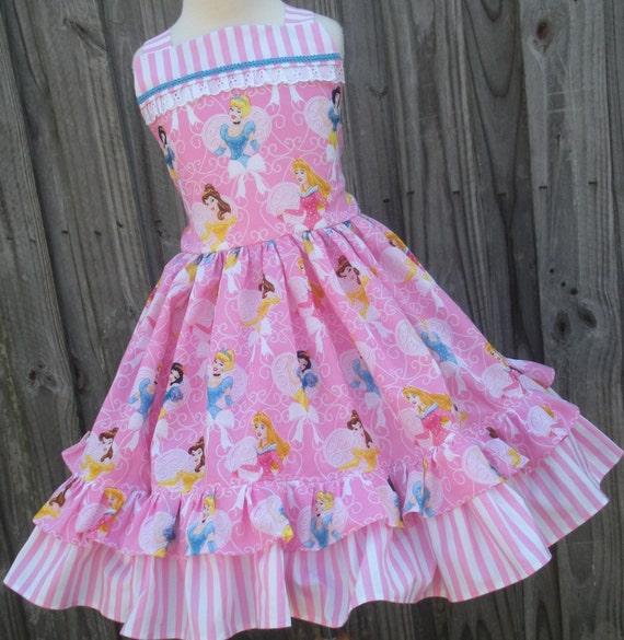 Custom Boutique Disney Princess Glitter Sparkle Dress Girl 2 3 4 5 6 7 8