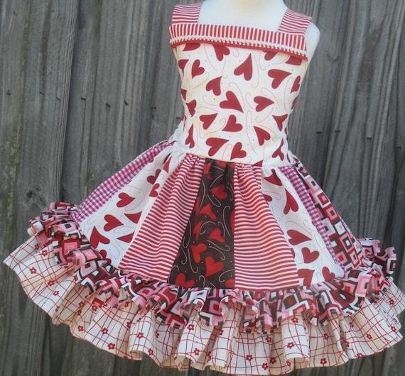 Custom Boutique Valentine Dress Flirtations Fabric Strip Style Girl 2 3 4 5 6 7 8  Design it Yourself