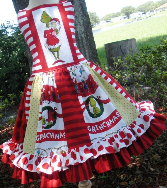 Custom Boutique Grinch Dr Seuss Christmas Holiday Dress Girl 2 3 4 5 6 7 8