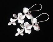 Silver Orchid Cascade Earrings.