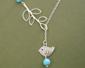 Bird Necklace Turquoise And Branch Lariat Style.