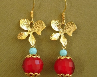 Red Crystal Orchid Flower Gold Earrings.