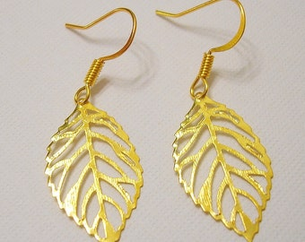 Gold Plated Skeleton Leaf Earrings.