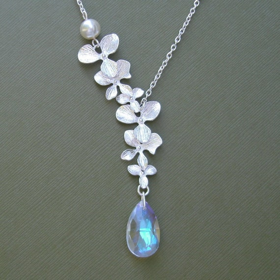 Double Orchid Cascade With Swarovski Crystal Necklace.