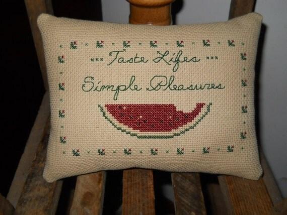 Finished Cross Stitch Simple Pleasures Shelf Pillow