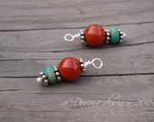 INDIAN SUMMER COLLECTION- Genuine Turquoise, Red Jasper and Bali Sterling Silver - Interchangeable Charms Stitch Marker - Handmade by Dorana