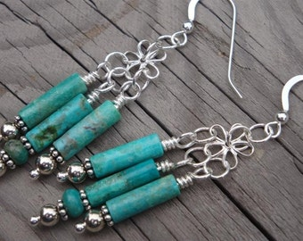Turquoise Waterfalls Swinging Chandelier Earrings - Turquoise and Fine and Bali Sterling Silver - Handmade by DORANA