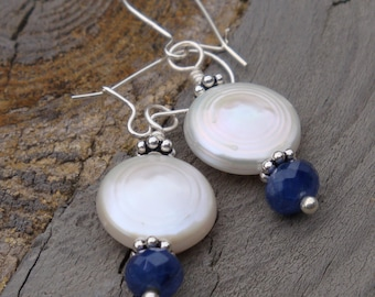 ARIEL - Sterling Silver, Coin PEARLS Genuine Faceted SAPPHIRE Custom Bridal Earrings - Handmade by Dorana - A Perfect Something Blue