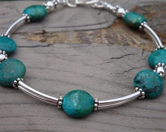 TURQUOISE WATERFALL Coin Bracelet -  TURQUOISE and Sterling Silver  - Handmade by Dorana
