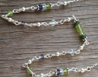 "PERSONALIZED BIRTHSTONE Necklace - ""By Land and By Sea"" - Peridot, Aquamarine, Iolite & Tourmaline in Sterling Silver - Handmade by Dorana"