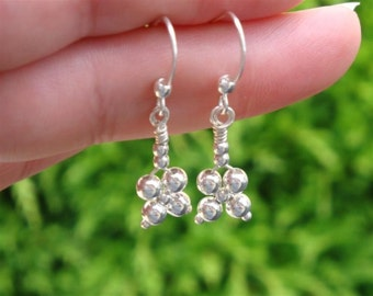 SILVER BELLS COLLECTION - myBouquet Beaded  Floral Design - Simple Sterling Silver Earrings - Handamde by Dorana